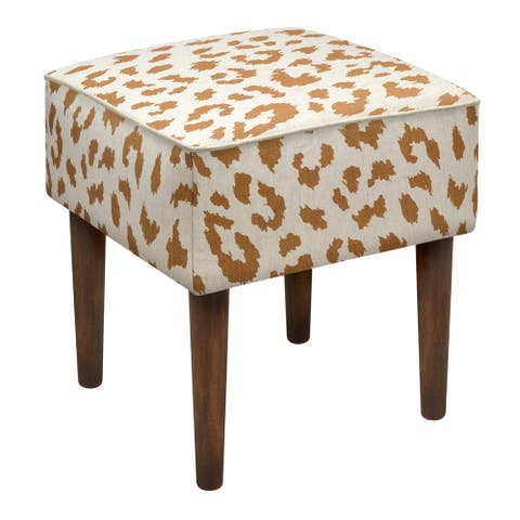 Caramel Linen Leopard Upholstered Modern-style Stool with Wooden Legs