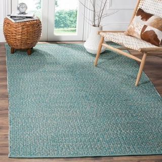 Safavieh Hand-Woven Montauk Flatweave Turquoise / Multicolored Cotton Rug (6' x 9')
