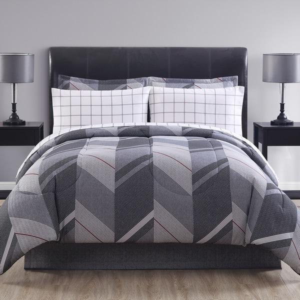 Hamilton Hall Reid Chevron Grid Reversible Bed in a Bag Comforter Set