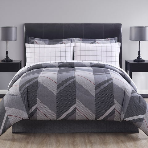 Hamilton Hall Reid Chevron Grid Reversible Bed in a Bag Comforter Set
