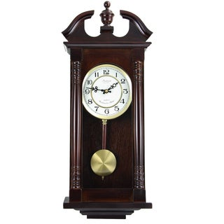 Bedford Clock Collection Cherry Oak Finish Wood/Glass 27.5-inch Classic Chiming Wall Clock With Swinging Pendulum