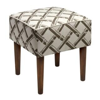 Grey Bamboo Trellis Linen Grey Wood/Linen/Foam Upholstered Modern Stool