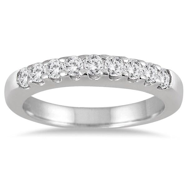 Marquee Jewels 10k White Gold 1/2ct TDW Diamond 9 Stone Wedding Band (J-K, I2-I3)
