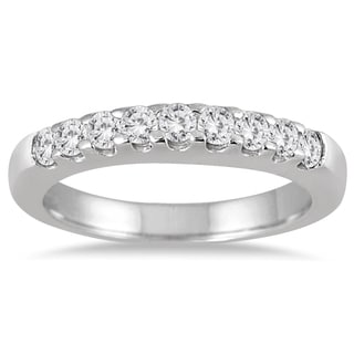 Marquee Jewels 10k White Gold 1/2ct TDW Diamond 9 Stone Wedding Band (J-K, I2-I3)