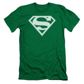 Superman/Green & White Shield Short Sleeve Adult T-Shirt 30/1 in Kelly Green