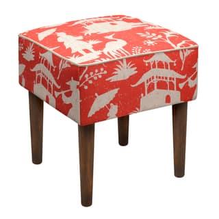 Modern Chinoiserie Linen Upholstered Stool