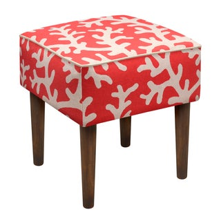 Coral Red Foam/Linen/Wood Upholstered Modern Stool