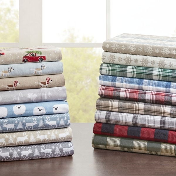 ALL SIZES Soft /& Cozy Pink Grey /& White Plaid Cotton Flannel Printed Sheet Set