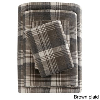 Woolrich Flannel Cotton Flannel Printed Sheet Set (Option: King - Brown Plaid)