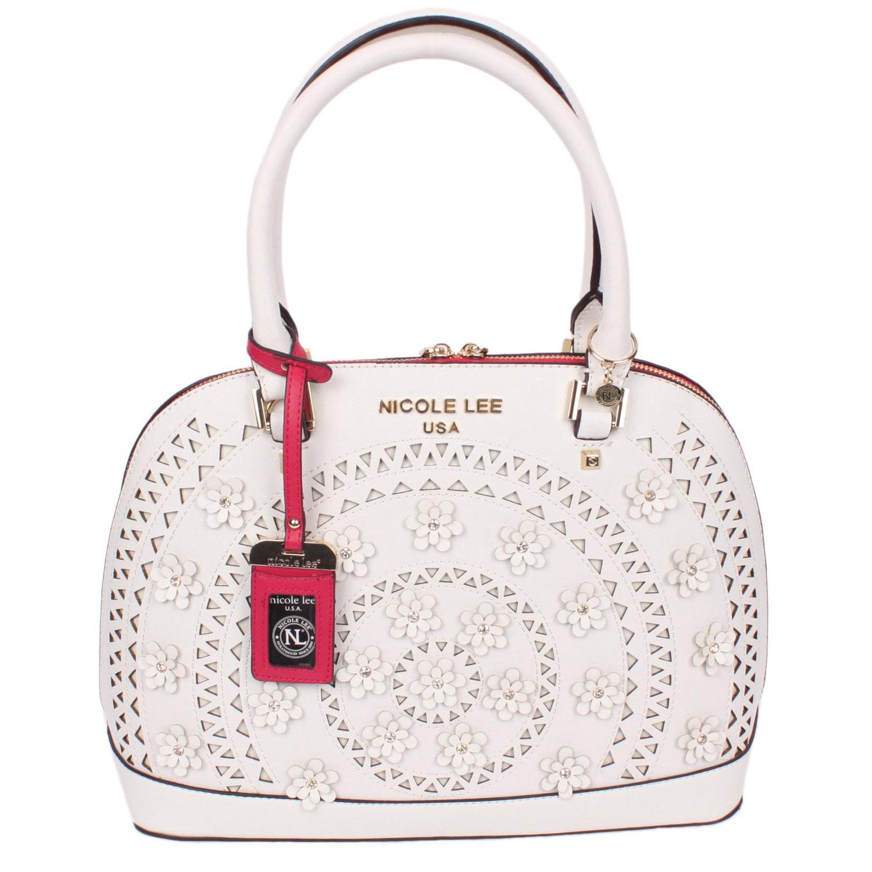Nicole Lee Farley White Faux Leather Dome Satchel Handbag...
