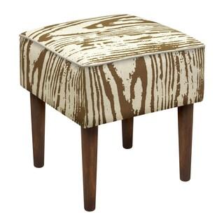 Faux Bois Linen Upholstered Modern-style Stool