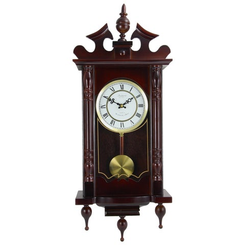Bedford Clock Collection Cherry Oak/Glass/Metal Swinging Pendulum Wall Clock