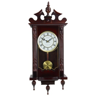 Bedford Clock Collection Cherry Oak/Glass/Metal Swinging Pendulum Wall Clock