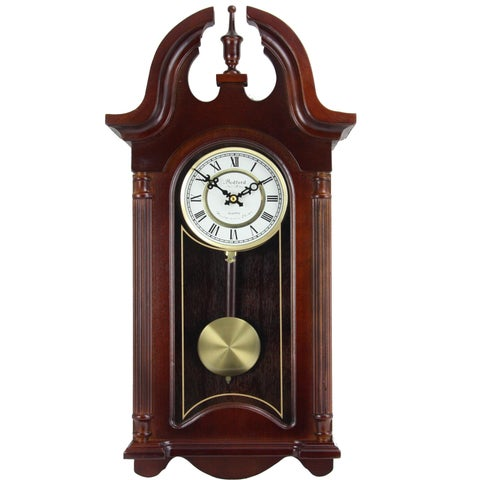 Bedford Clock Collection Colonial Cherry Oak Finish Mahogany Wood 26.5-inch Roman Numerals Chiming Wall Clock