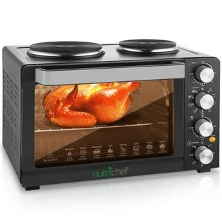 NutriChef PKRTO28 Multifunction Kitchen Oven, Countertop Rotisserie Cooker with Dual Hot Plates