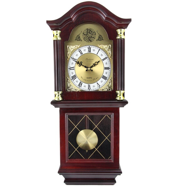Bedford Clock Collection Cherry-colored Oak Wood 26-inch ...