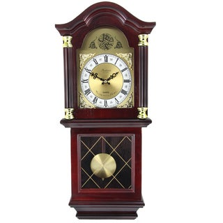 Bedford Clock Collection Cherry-colored Oak Wood 26-inch Antique Wall Clock