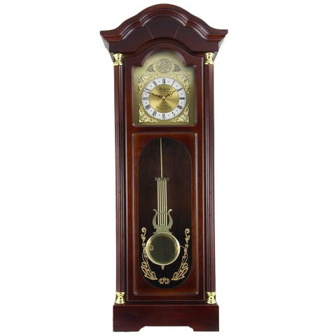 Bedford Clock Collection Antique Cherry Oak Finish 33-inch Chiming Wall Clock with Roman Numerals
