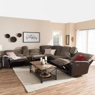 Baxton Studio Epiktetos Modern and Contemporary Taupe Fabric and Brown Faux Leather Two-Tone Sectional Sofa