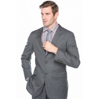 Verno Men's Dark Charcoal Grey 100% Wool Notched Lapel Classic-fit Suit