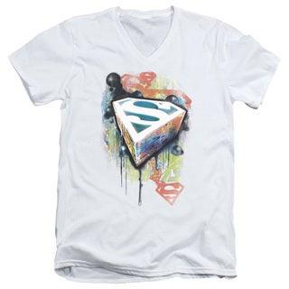 Superman/Urban Shields Short Sleeve Adult T-Shirt V-Neck in White
