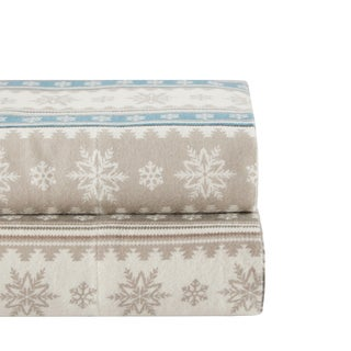 Woolrich Nordic Snowflake Cotton Flannel Sheet Set 2-Color Option