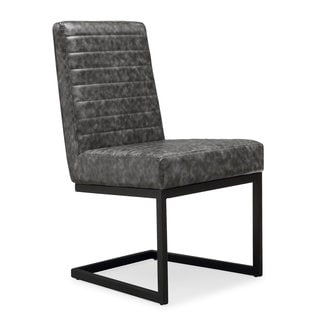 Austin Grey Faux-leather Chair with Steel Frame (Set of 2)