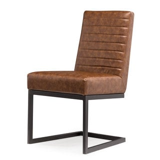 Austin Brown Faux Leather/Steel/Wood Chair (Set of 2)