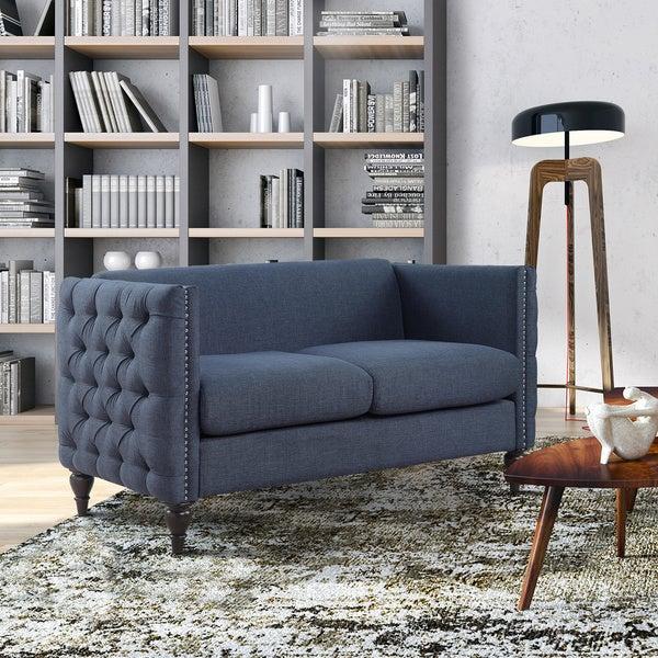 Elegant Furniture Of America Clara Tuxedo Linen Tufted Nailhead Loveseat