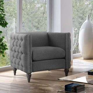 Furniture of America Clara Button Tufted Nailhead Trim Linen Tuxedo Arm Chair