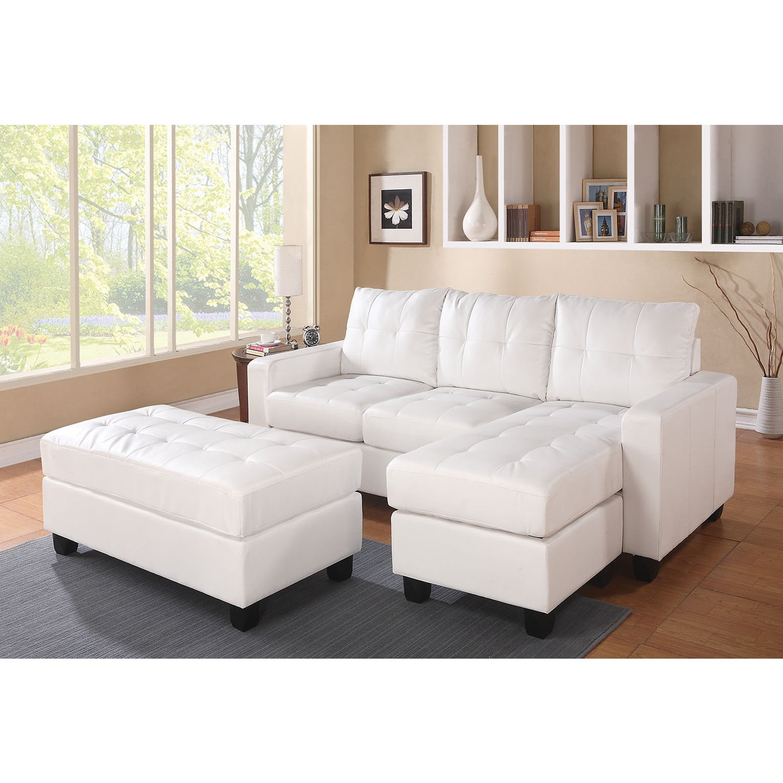 ACME Lyssa Bonded Leather Sectional Sofa with Ottoman (Wh...