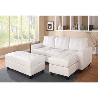 Lyssa Bonded Leather Sectional Sofa with Ottoman