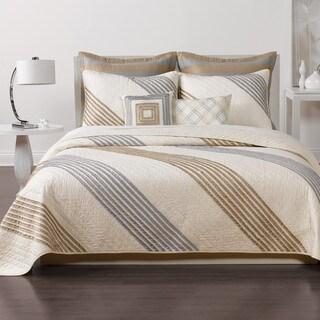 Nostalgia Home Stanton Stripe Taupe Quilt (Shams Sold Separately)