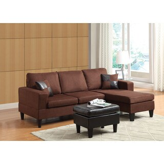 Robyn Chocolate Brown Microfiber Sectional Sofa with Ottoman
