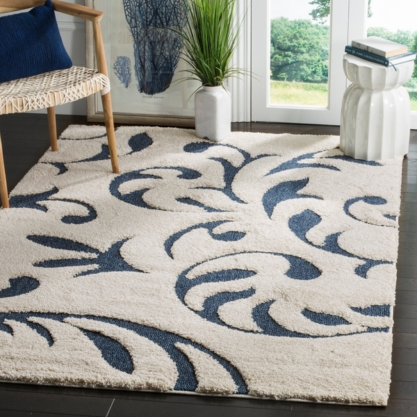 Shop Safavieh Florida Shag Ultimate Cream Blue Rug 5 X
