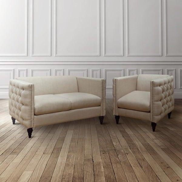 Furniture Of America Clara 2 Piece Tuxedo Linen Tufted