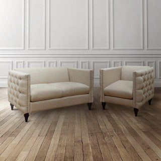 Tufted Linen Tuxedo Chair and Loveseat Set