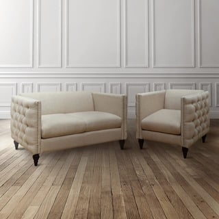 Tufted Linen Tuxedo Chair and Loveseat Set|https://ak1.ostkcdn.com/images/products/12677208/P19462892.jpg?impolicy=medium