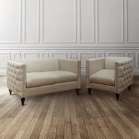 Maison Rouge Chopinel Tufted Linen Tuxedo Chair and Loveseat Set