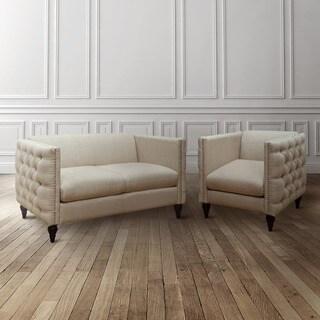 Tufted Linen Tuxedo Chair and Loveseat Set