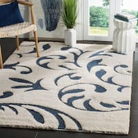 Safavieh Florida Shag Ultimate Cream/ Blue Rug - 6' x 9'