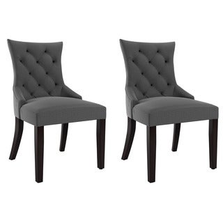 CorLiving Antonio Espresso Wood and Upholstered Fabric Accent Chairs (Set of 2)