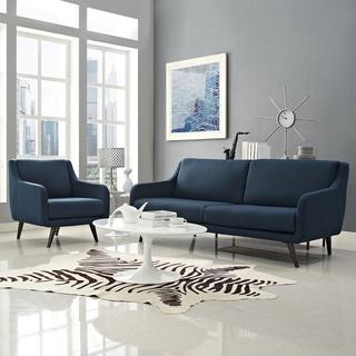 Modway Verve Grey/Espresso Polyester/Rubberwood Living Room Set (Set of 2)