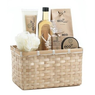 Bath and Body Bamboo Basket Eco-Frangrance Spa Set - Clear