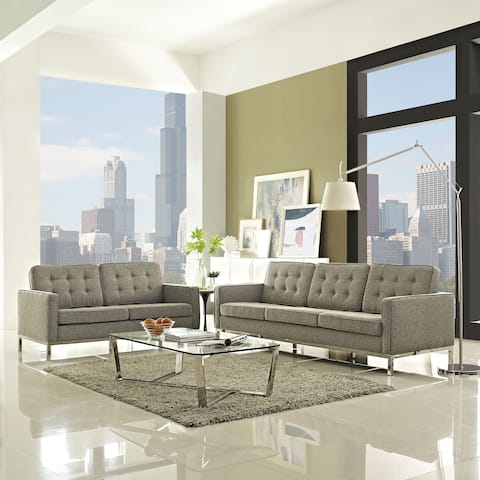Loft Fabric Upholstered Sofa and Loveseat Living Room Set