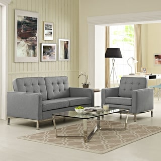 Loft Fabric Upholstered Loveseat and Armchair Living Room Set