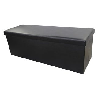 Urban Port Black Elegant Foldable Storage Ottoman Bench