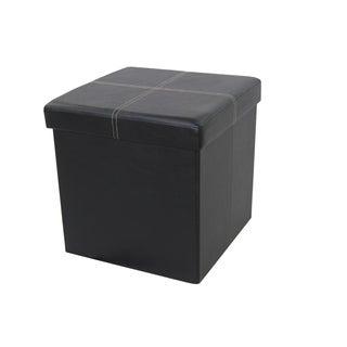 Urban Port Black Chic Foldable Storage Ottoman