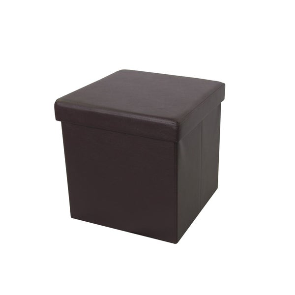 shop urban port brown faux leather foldable storage ottoman on sale free shipping on orders. Black Bedroom Furniture Sets. Home Design Ideas