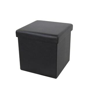 Benzara Urban Port Black Foldable Storage Ottoman